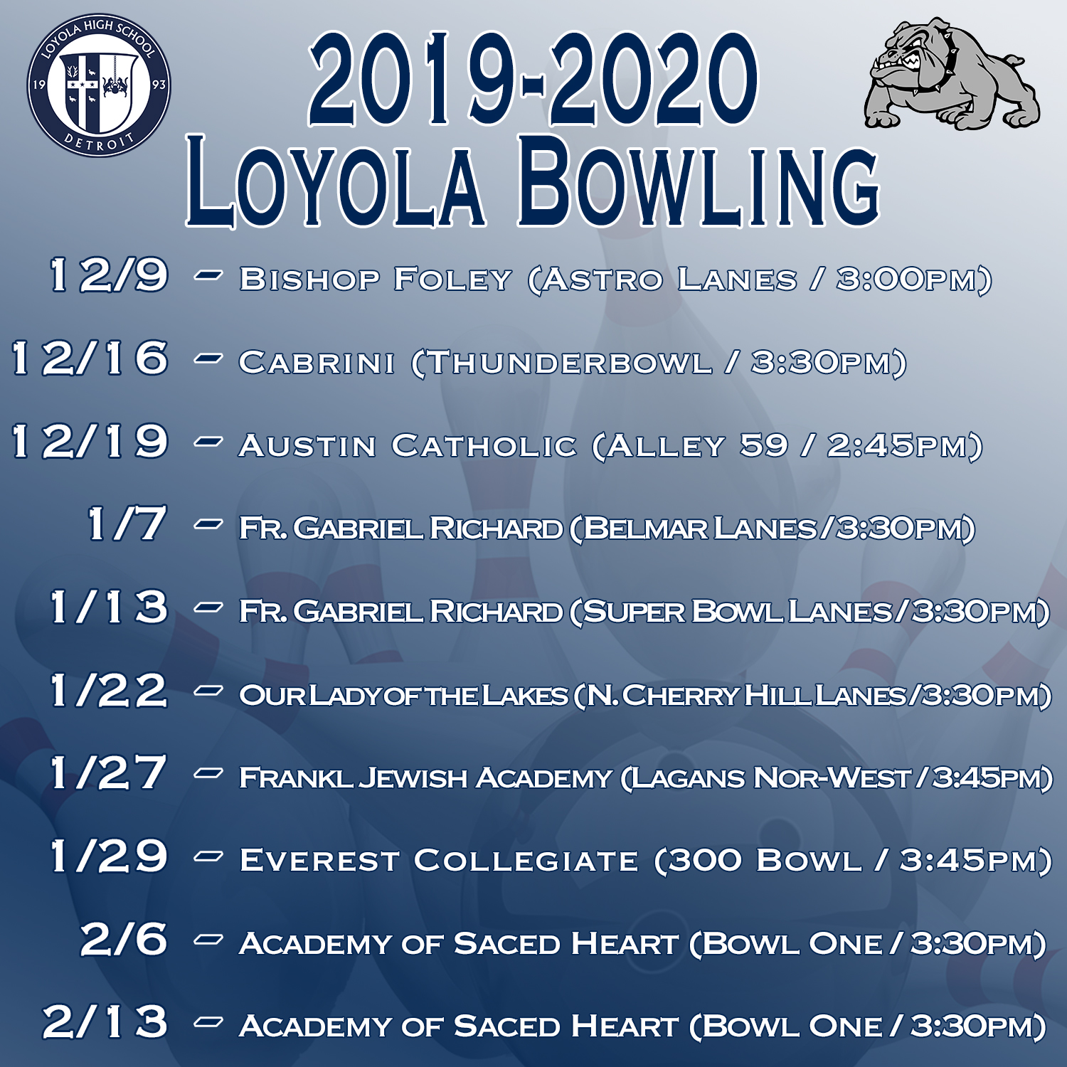 2019 Bowling Schedule