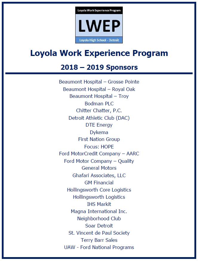 LWEP Overview – Loyola High School Detroit